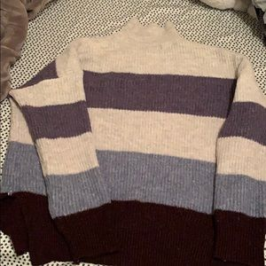 Light grey and purple striped sweater